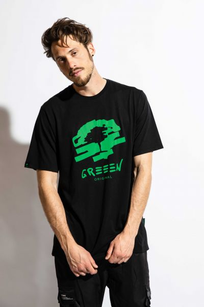 GREEEN black tree T-Shirt schwarz Bambus